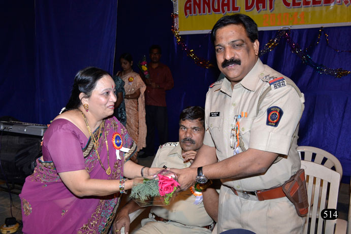 Sr. Police Inspector Mr. Sanjay More felicitated by Mrs. Raote